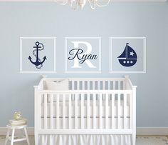Set Nautical Anchor Sailboat Name Wall Decal - By LovelyDecals - New Collection SHOP NOW!!