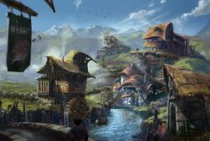 Fantasy Fishing village by Ryan Lowe Fantasy village Fantasy town Fantasy art landscapes