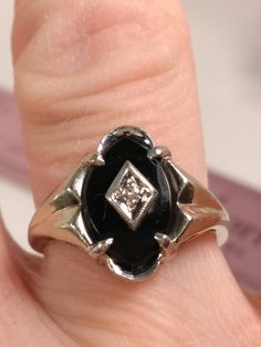 Vintage Onyx and white gold ring is the latest Vintage addition to my #etsy shop: #VintageOnyxring #vintageblackonyx #vintagestatementring #vintagejewelry #artdecovintagering #vintagering #designsbydeirdreshop