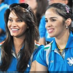 Diana Hayden and Saina Nehwal during the match between Sunrisers Hyderabad and Pune Warriors, in Hyderabad, on April 5, 2013 — at Salt Lake Stadium.