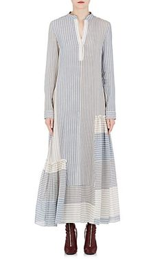 Stella Mccartney Striped Silk-Blend Voile Tiered Maxi Dress In White Pat. Modesty Fashion, Hijab Fashion, Girl Fashion, Fashion Dresses, Ski Fashion, Linen Dresses, Casual Dresses, Maxi Robes, Patchwork Dress