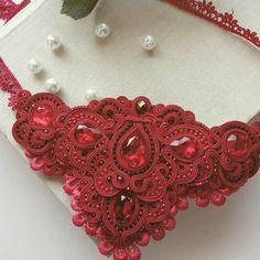 Soutache Necklace, Crochet Necklace, Earrings, Ornament Wreath, Shibori, Necklaces, Beads, Macrame, Jewellery