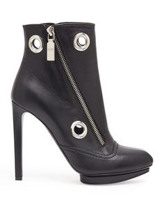 Alexander McQueen Eyelet & Zip Leather Ankle Boot, Black