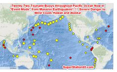 """Very strong earthquakes off California and off the Solomon Islands near Australia have triggered a vast array of Tsunami Warning Buoys in the Pacific Ocean into """"ALERT MODE"""" indicating Tsunami Waves are traveling through the ocean toward coastlines of Hawaii, Alaska, The west coast of North America as well as toward Australia, New Zealand and …"""