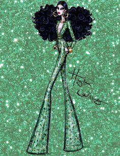 Hayden Williams Fashion Illustrations   Dazzling Divas by Hayden Williams: 'Emerald...