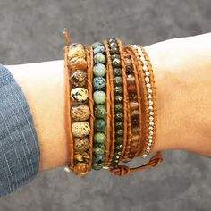 The Camp Wrap Bracelet is made of pyrite, silver nuggets, beige agate, African turquoise and jasper. The earthy tones of this wrap bracelet allows you to st...