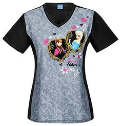 Tooniforms by Cherokee Womens VNeck Frozen Forever Sisters Print Scrub Top Large Print -- Check out the image by visiting the link.