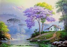 Now this is what I call dream home – mi sitio - Malerei Watercolor Landscape, Landscape Art, Landscape Paintings, Watercolor Paintings, Pictures To Paint, Nature Pictures, Beautiful Paintings, Beautiful Landscapes, Cottage Art