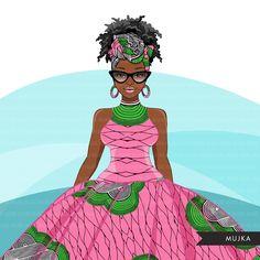 Alpha Kappa Alpha Paraphernalia, Very Beautiful Images, Cricut Print And Cut, Fashion Clipart, Dread Hairstyles, Black Curly Hair, African Women, African Art, Ankara Styles