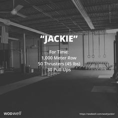 For Time: 1,000 Meter Row; 50 Thrusters (45 lb bar); 30 Pull-Ups