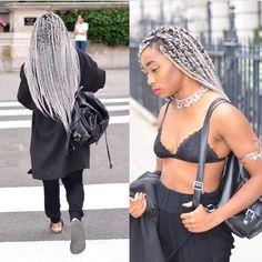Silver fox box braids | Platinum/White/Silver/Grey Hair | Pinterest