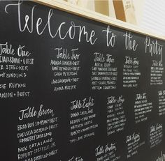 16-Table Seating Chart Chalkboard | Brooke Holden Calligraphy www.brookeholden.com Myrtle Beach, South Carolina