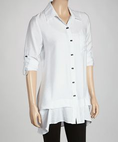 Take a look at this White Button-Up Tunic by Come N See on #zulily today!
