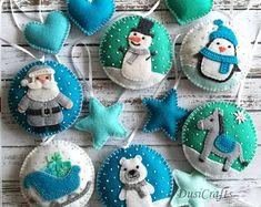 Set of 6 Felt Blue Mint Christmas ornaments - Polar bear - Donkey - Penguin and Snowman tree dec Handmade Christmas Decorations, Felt Decorations, Felt Christmas Ornaments, Personalized Christmas Ornaments, Christmas Crafts, Father Christmas, Diy Ornaments, Beaded Ornaments, Homemade Christmas