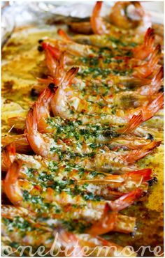 butterflied garlicky prawns
