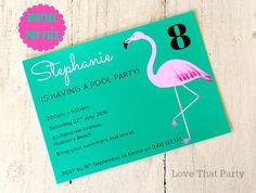 FLAMINGO POOL Party INVITATION, Printable, Personalized, Flamingo Party, Flamingo Birthday, Pink Flamingo, Girl Invitation, Green, Diy Print by LoveThatPartyInvites on Etsy