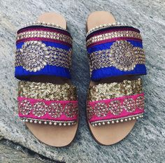 Handmade Leather Sandals, Boho Sandals, Strappy Sandals, Slide Sandals, Bohemian, Gypsy Sandals, Indian Trim, Embroidered Sandals #etsy #shoes #women #slidesandals #leathersandals #handmadesandals #greekleathersandal #ancientgreekstyle #strappysandals