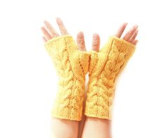 Knit Fingerless Gloves  Winter Mittens  Mustard by SENNURSASA, $22.00