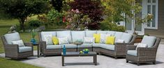 Dont limit yourself to just outdoor furnishings when it comes to making your outdoor spaces comfortable and inviting. Bring out your favorite throw pillows and blankets when youre ready to entertain. Pool Patio Furniture, Outdoor Furniture Sets, Outdoor Spaces, Outdoor Living, Outdoor Decor, Home Deco, Outdoor Sectionals, Pools, Backyard