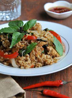 Easy and delicious Thai Basil Fried Rice recipe | Khao Pad Horapa | rachelcooksthai.com