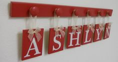 Red Baby Nursery Wall Art Personalized Names Sign by NelsonsGifts, $29.00