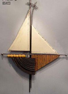 large Sailboat wall art, 3d ceramic wall sculpture, sea art