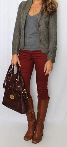 Burgundy pants and a blazer!