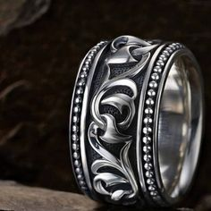 An UnKaged Sparta Engraved KNOTTED VINE Band Style Ring - Scott Kay Mens Sterling Silver - TRIBAL Hollywood