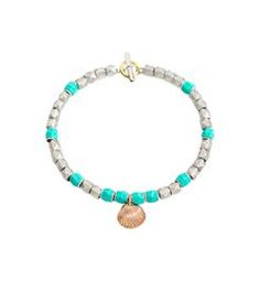 Silver bracelet with 9 kt rose gold shell charm, sandblasted silver studs  and silver and 6087d76168