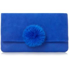0374f6dfce7b EPOMMY Pom Pom Flap Over Clutch BLUE ( 76) ❤ liked on Polyvore featuring  bags