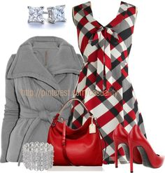 """Tulle Plaid Dress & Sexy Red Pumps"" by casuality on Polyvore"