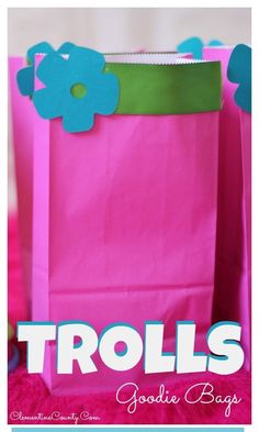 Make these easy Trolls Goodie bags for your troll-tastic birthday party.
