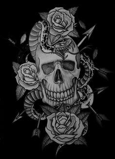 Kasino skull snake roses -  http://tattoosnet.com/kasino-skull-snake-roses.html  http://tattoosnet.com/wp-content/uploads/2014/03/Kasino-skull-snake-roses.jpg