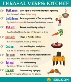 List of useful cooking phrasal verbs with their meaning and examples in English. Learn cooking vocabulary with ESL picture to improve your e English Vocabulary Words, Learn English Words, English Phrases, English Fun, English Idioms, English Study, English Lessons, English Grammar, English Learning Spoken