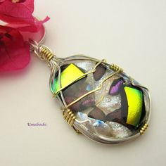 Argentium Sterling Silver Wire Wrapped Dichroic by 2GlassThumbs