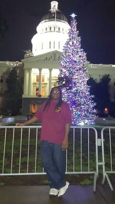 Dwight in front of the government building down town Sacramento.