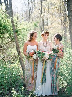 bride and bridesmaids boho style with large oversized bouquets  Glamping meets boho in this Firelights Camp wedding inspiration styled shoot.