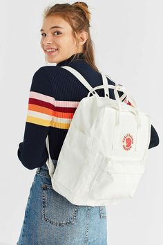 Urban Outfitters Trendy White Fjallraven X UO Kanken Backpack - Christmas-Desserts White Backpack, Backpack Outfit, Fashion Backpack, Mochila Kanken, Trendy Backpacks, School Backpacks, Womens Fashion Online, Latest Fashion For Women, Waist Purse