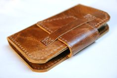Leather iPhone 5 wallet in Distressed Pecan Brown by RobbieMoto, $58.00