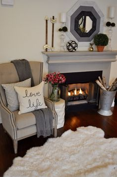 Simple, Yet Awesome Fall Fireplace Decor Idea - 14 Cozy Fall Fireplace Decor Ide. - Simple, Yet Awesome Fall Fireplace Decor Idea – 14 Cozy Fall Fireplace Decor Ideas to Steal Right - Home Living Room, Living Room Designs, Living Room Decor, Bedroom Decor, Master Bedroom, Cozy Bedroom, Bedroom Ideas, Fall Fireplace Decor, Fireplace Ideas