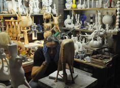 Sculptor Eoghan Bridge in his studio