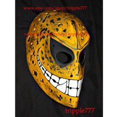 RARE vintage style fiberglass NHL ice hockey goalie face mask helmet - custom made smiley mask HO50