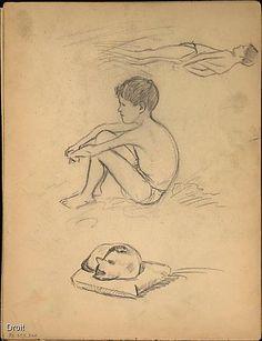 Edmond-Joseph Massicotte, Études de jeunes garçons à la plage et d'un chat sommeillant, entre 1906 et 1909. Mine de plomb sur papier, 27,5 x 21,2 cm. Collection MNBAQ. #mnbaq #MuseumCats