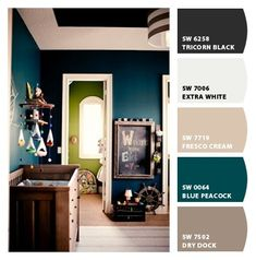Paint colors from Chip It! by Sherwin-Williams. Love that Blue Peacock.
