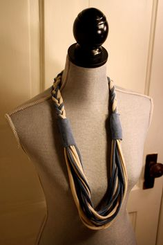 Upcycled T-Shirt Necklace, Infinity Scarf, Tan and Blue
