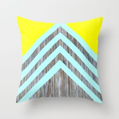 Yellow Turquoise Chevron Wood Throw Pillow by HayleyM