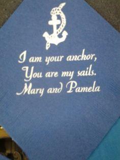 Nautical wedding napkins