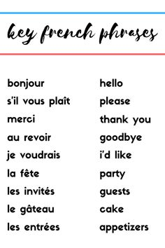 How to Throw the Perfect Bastille Day Party round trip French phrases Basic French Words, French Phrases, How To Speak French, Learn French, French Language Lessons, French Language Learning, French Lessons, Hello Bonjour, French Lifestyle