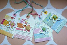 Floral Spring Gift Tags  Set of Four by CraftyMushroomCards, £3.00