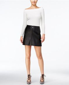 GUESS Off-The-Shoulder Sweater & Faux-Leather Zip-Front Mini Skirt - Guess - SLP - Macy's